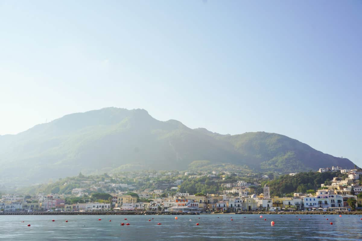 Ischia from a yacht. Ischia in October