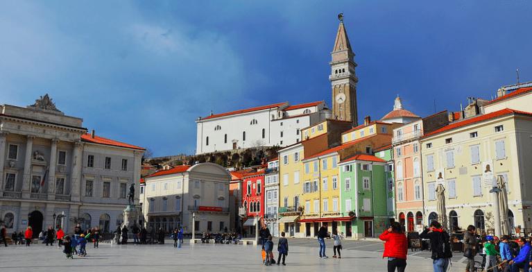 The main square of Piran, Slovenia. Looks a little bit like Venice