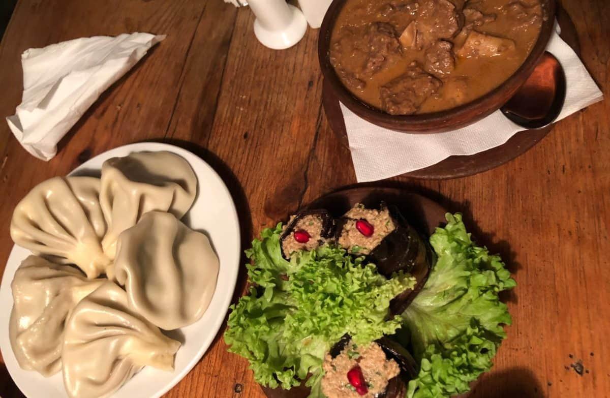 Food in Tbilisi, Georgia. Khinkali