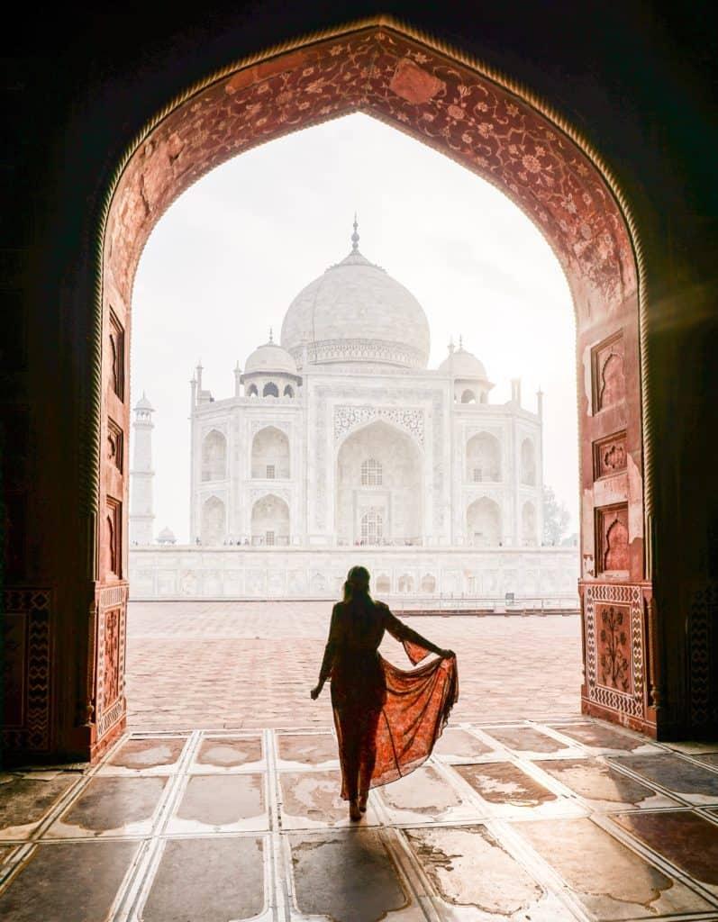 Empty Taj Mahal at sunrise