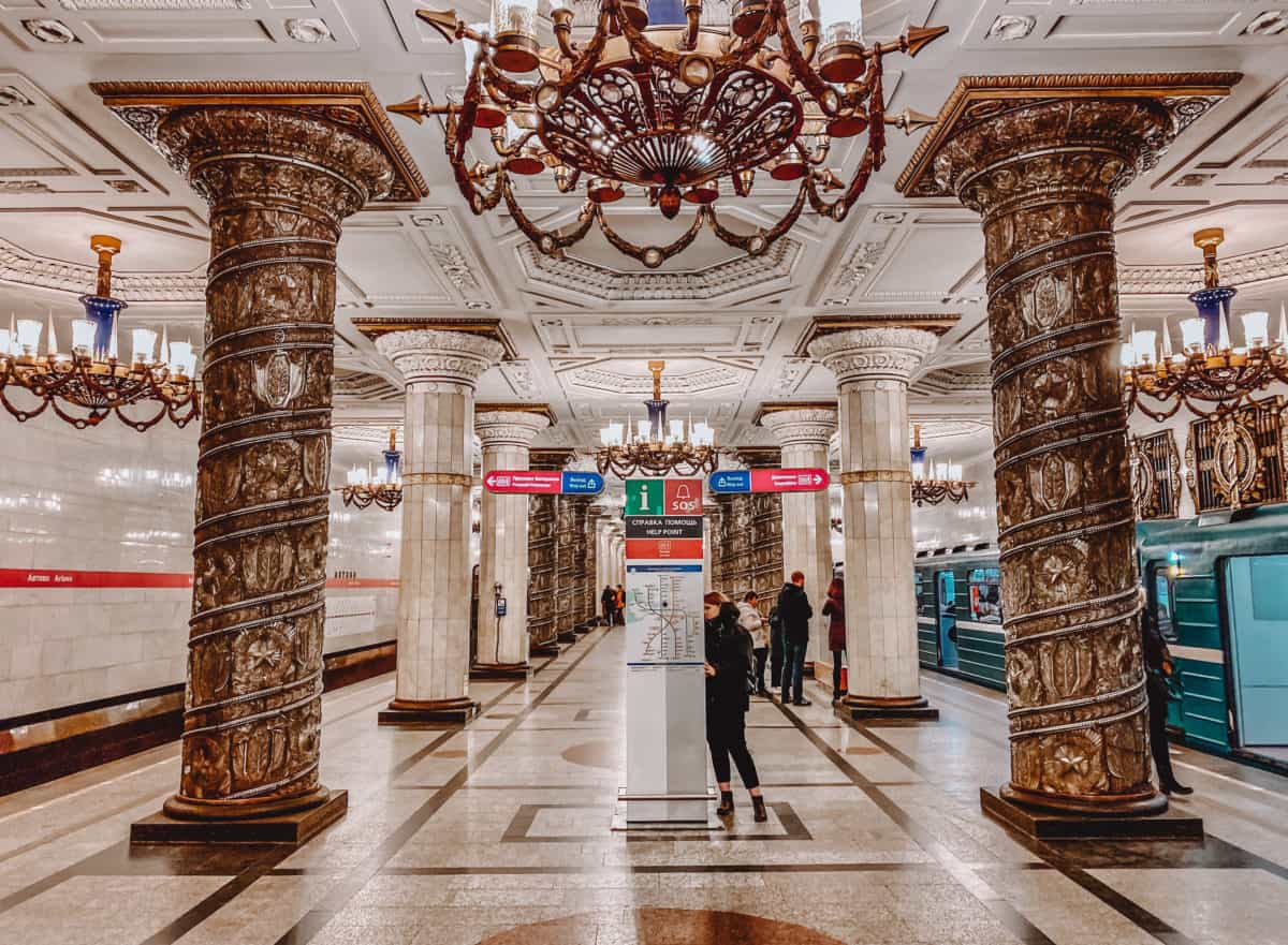 Most beautiful metro stations in Saint Petersburg, Russia