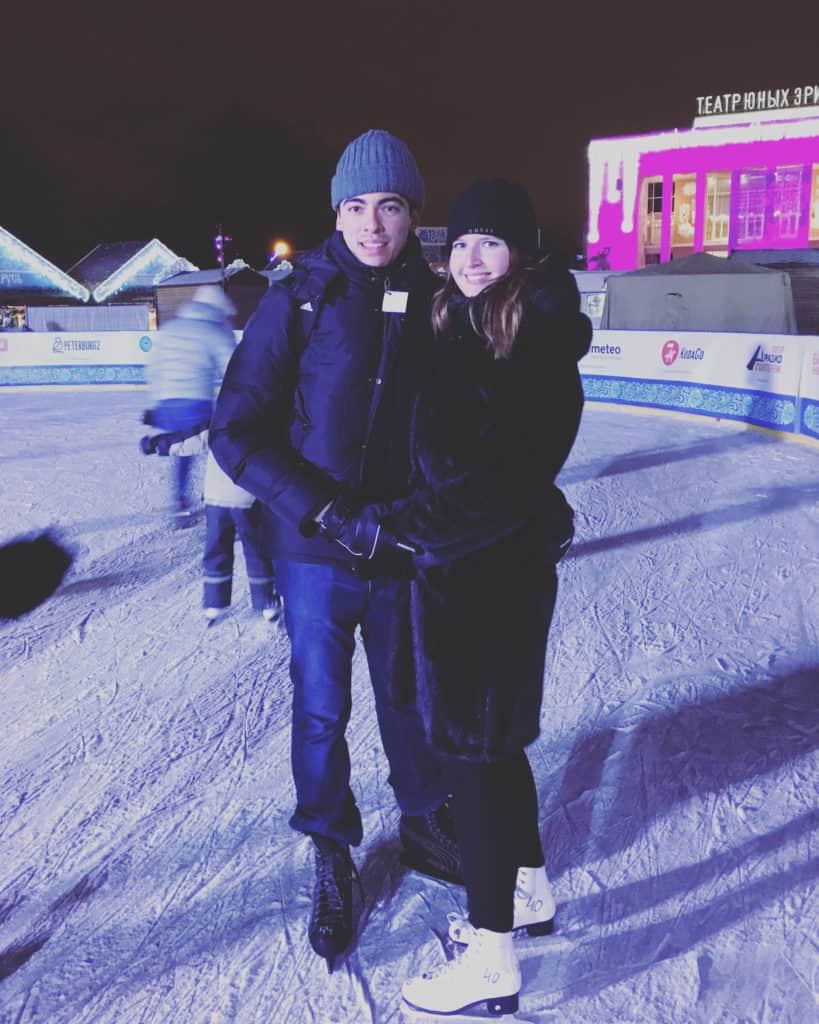 Ice skating in St. Petersburg in January