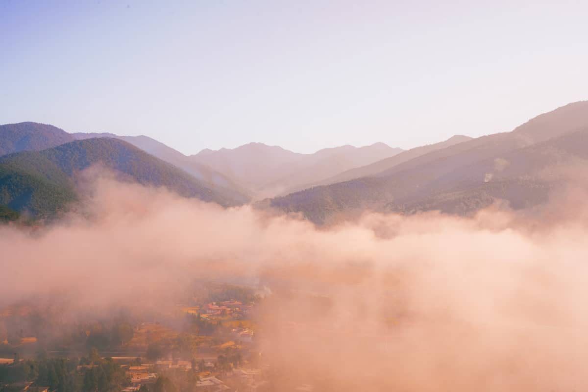 beautiful sunrise in Punakha