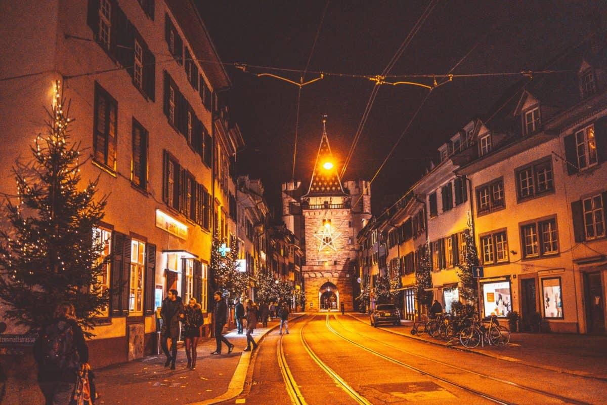 Basel at night. Christmas in Basel