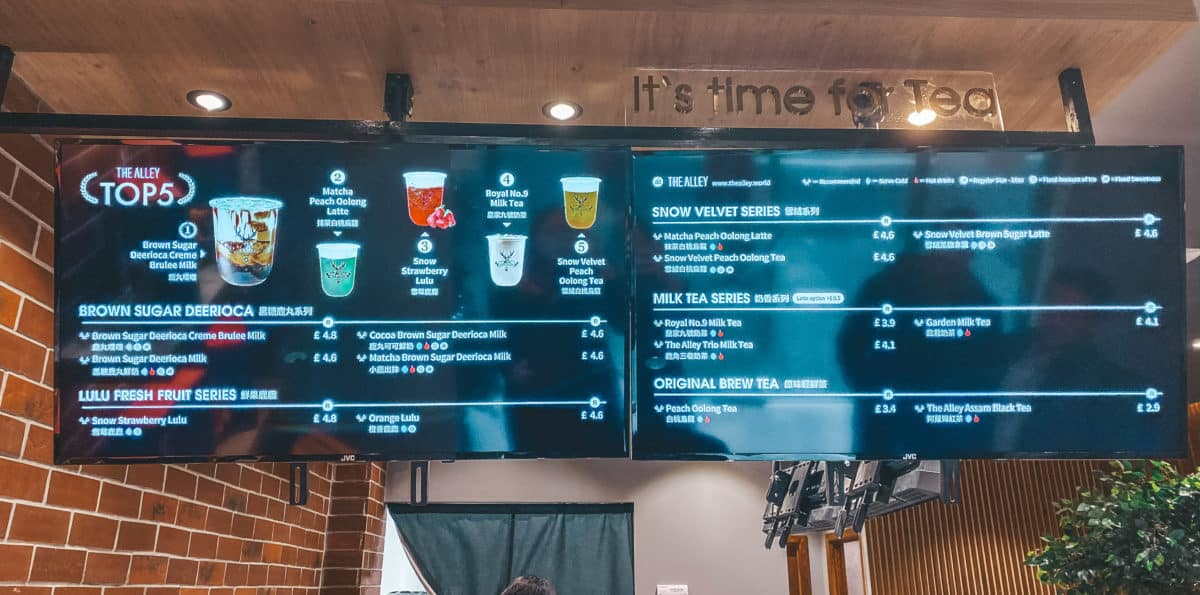 The Alley London menu prices Holborn Boba Tea