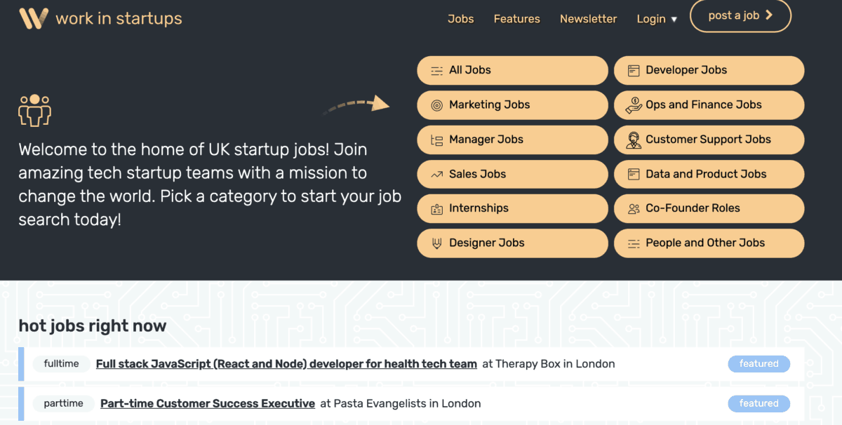Best sites to look for a job in a startup in London - Angel List