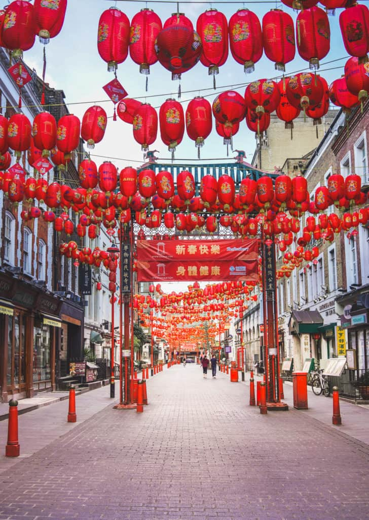 Empty Chinatown in London, Sunset in China Town London without people