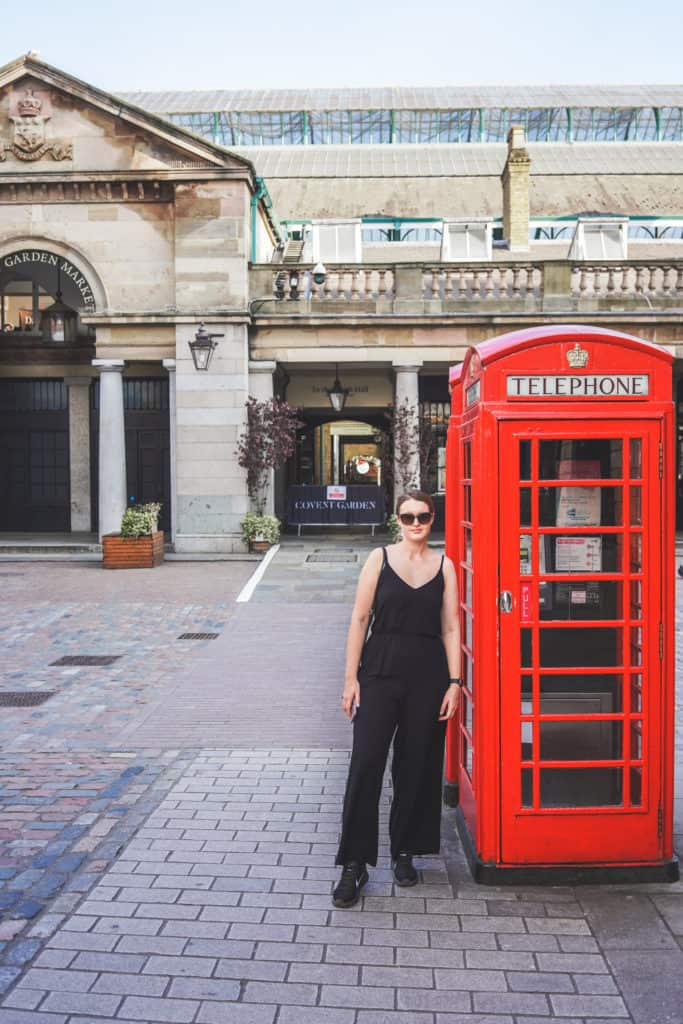 Covent Garden, London. Photo with a famous red telephone box in London