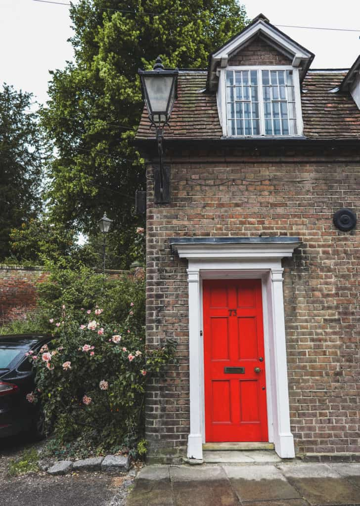 Chesham red door in England