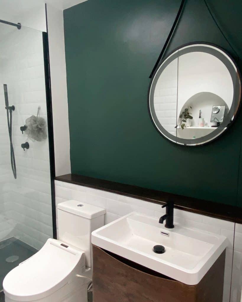 Bathroom makeover - Green modern bathroom