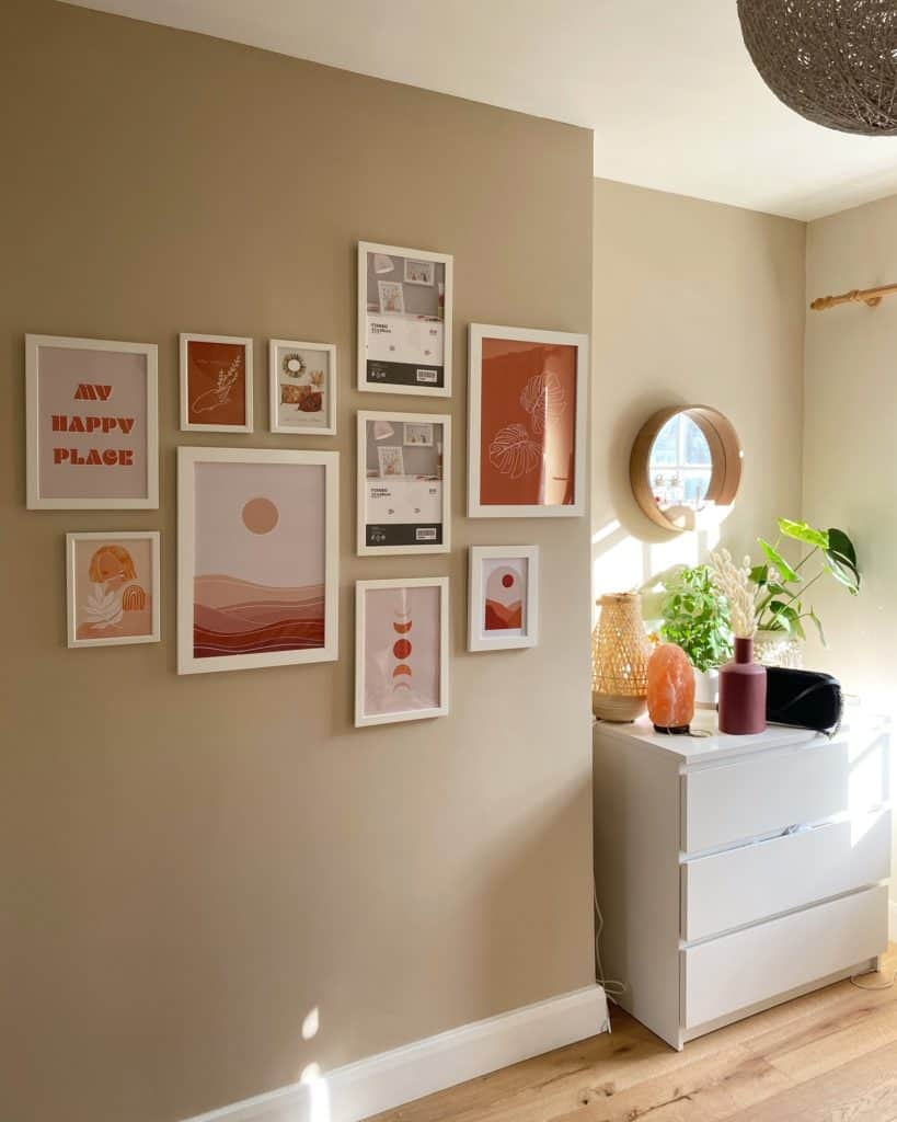 Bohome bedroom makeover with a gallery wall